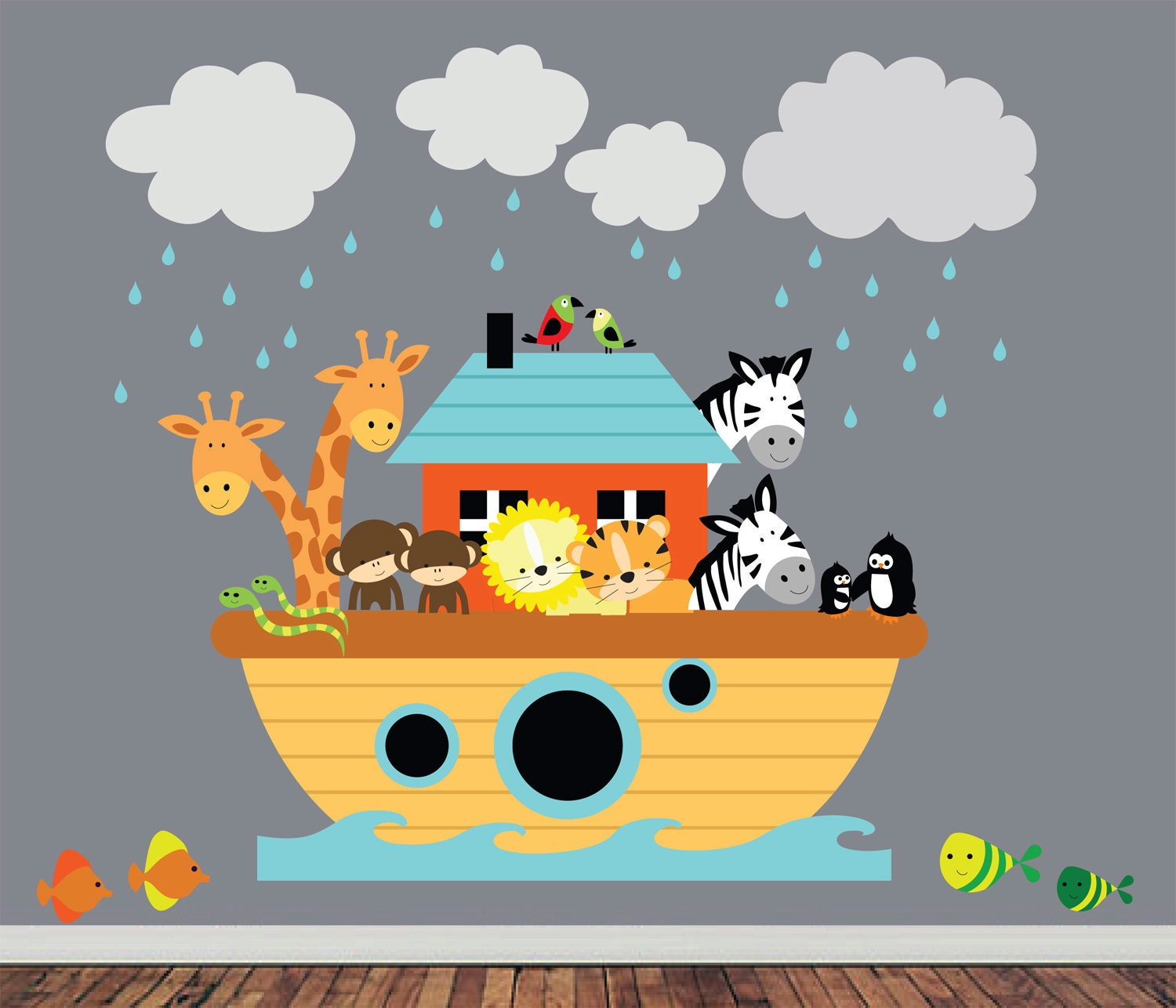 Paint Wall Mural Reusable Noahs Ark Wall Decal Childrens Fabric Wall Decal