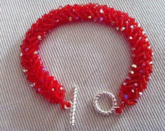 Swarovski Crystal Tennis Bracelet - Red