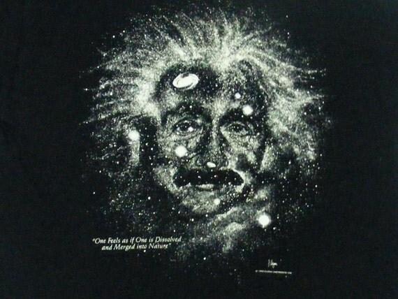 Vintage 90s 1993 Albert Einstein Black Glow In the Dark Cotton Expressions T Shirt Size L