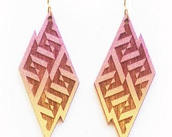 Geometric Lightning Bolt Earrings in Gold and Purple