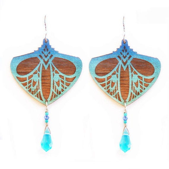 ON SALE - Teal and Turquoise Art Nouveau Style Lasercut Wooden Earrings with Faceted Drops
