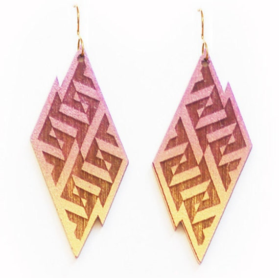 Geometric Lightning Bolt Earrings in Gold and Purple