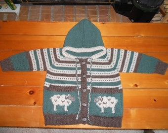 Hooded wool sheep sweater with pockets.