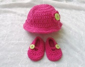 Newborn Sunhat and Mary Jane style shoe set crocheted with hot pink cotton yarn