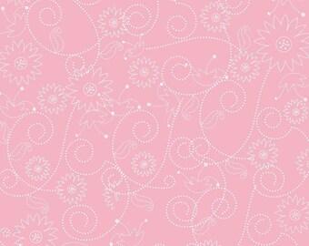 Riley Blake Fabric by the Yard Penny Lane Swirls PInk C7102