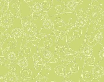 Riley Blake Fabric by the Yard Penny Lane Swirls Green C7102