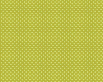 Fabric by the Yard Riley Blake Swirly Bird Mini Dots GreenC7096