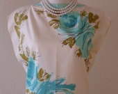Reserved for Vicki - Beautiful Vera Neumann 60's Scarf Top in Aqua Floral - New/Unworn