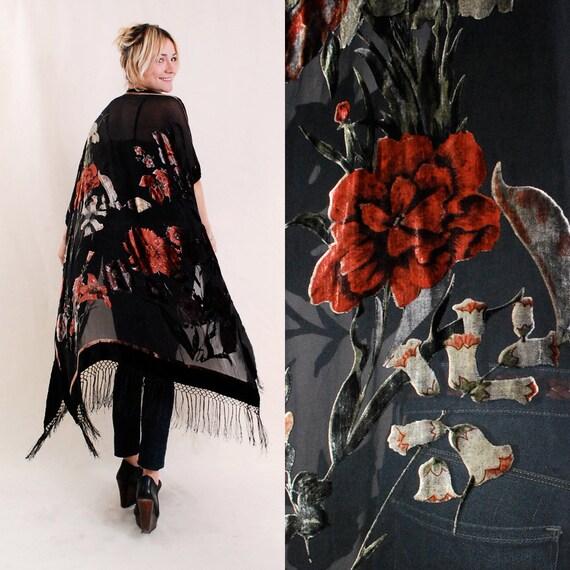 Vintage Fringe Velvet Jacket - burnout fringe sheer poncho, piano shawl, floral print,velvet, black sheer, roses