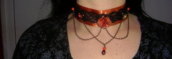 gothic ,choker,victorian,burlesque,necklace,orange flower