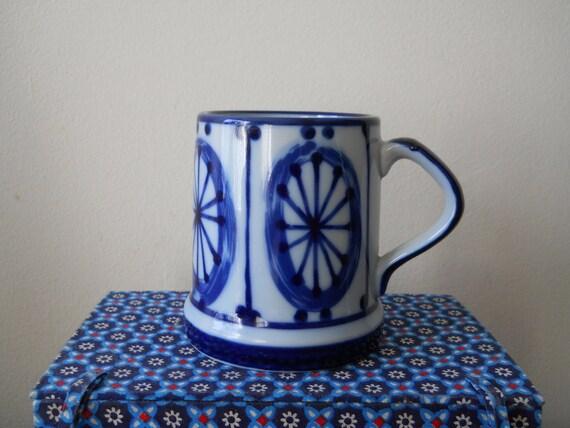 Nordic Cobalt Blue Wagon Wheel Mug