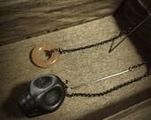 Final Plug Earrings // Black Stone Skull Peach Adventurine Donut