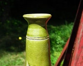Leaf Green Flower Vase Ceramic Handmade Light Green Stoneware Vessel Crackle Carved Sides Small Skinny Pottery Piece
