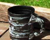 Splotchy Black and White Coffee or Tea Mug Stoneware Handmade Ceramic Cup with Handle Hot Chocolate Mug Pottery