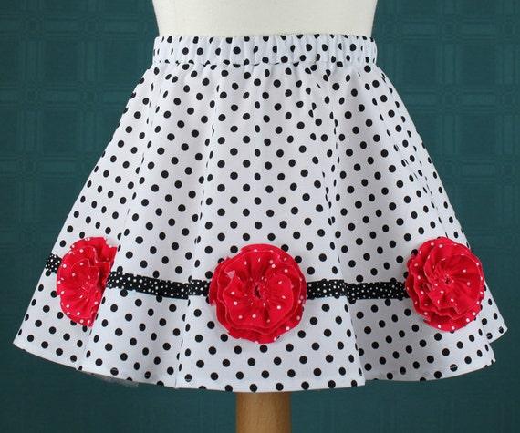Ring Around the Rosey, circle skirt, ruffled rosettes, PDF sewing pattern, toddler, girls, 2T-10