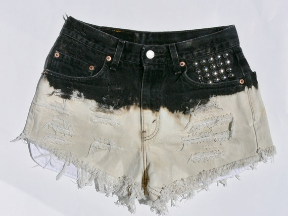 Black White High Waisted Vintage Shorts Ombre Dye Levis Cut Off Waist 27 inches Frayed Studded