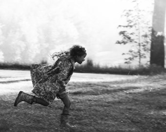 Like the Wind (in the rain) (13 x 19) (girl running) (raincoat)