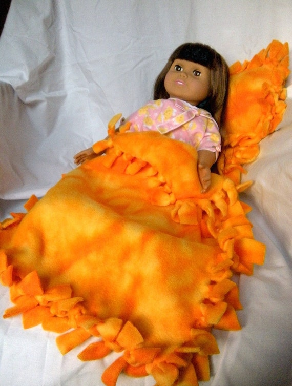 "Handmade Polar Fleece Sleeping Bag Set for 18"" Doll, ideal for American Girl Doll."