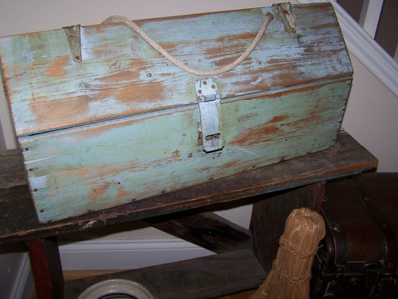 RESERVED FOR LINDA Antique Blue Green Large Wood Tool Box with Rope Handle