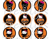 """Hello Kitty Inspired Halloween Digital 1"""" Bottle Cap Images on a 4x6 Collage Sheet for Crafts or Scrapbooking (No. 1)"""