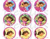 "Dora the Explorer Inspired Digital 1"" Bottle Cap Images on a 4x6 Collage Sheet for Crafts or Scrapbooking"