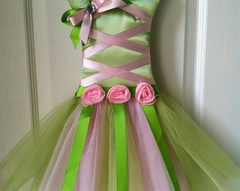Pink and Green Tinkerbell Inspired Tutu Bow Holder
