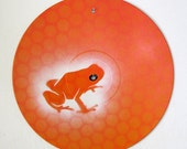 Painted vinyl record - Frog on orange dots
