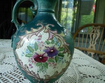 Morning Glories 1800s Antique Victorian Vase Urn Antique Ewer Morning Glories  Victorian Antique Vases Victorian Pitcher Teal decor