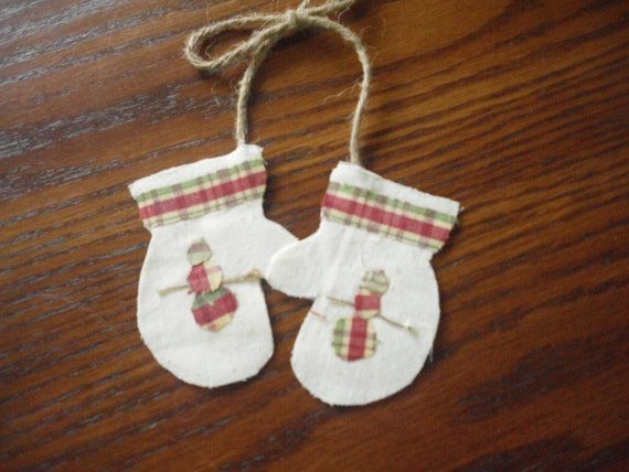 Snowman Ornament  Country Primitive MITTENs Tree Ornies Snowman Twig Arms  Old Fashion Christmas Ornament