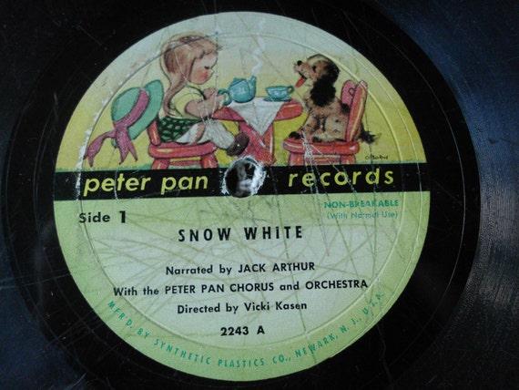 Antique Snow White Vinyl Record Wall Art Vintage Peter Pan Record LP Record album RePurpose Vinyl Bowl
