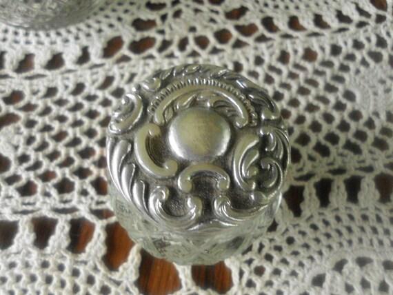Vanity Silver Glass Trinket Storage Container Avon Shabby Chic