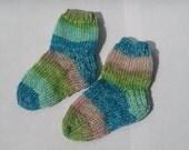 Knit Socks Seaside Stroll Blue Green Pink Infant 0-6 month