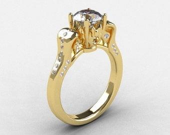 14K Yellow Gold White Sapphire Diamond Wedding Ring, Engagement Ring NN101-14KYGDWS
