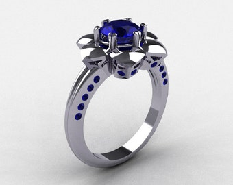14K White Gold Blue Sapphire Wedding Ring, Engagement Ring NN102-14KWGBS