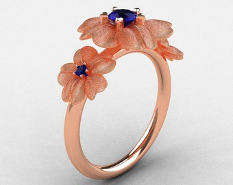 14K Rose Gold Blue Sapphire Flower Wedding Ring, Engagement Ring NN107-14KRGBSS