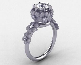 14K White Gold White Sapphire Diamond Flower Wedding Ring, Engagement Ring NN109S-14KWGDWS
