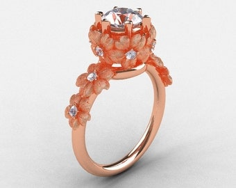 14K Rose Gold Cubic Zirconia Diamond Flower Wedding Ring, Engagement Ring NN109S-14KRGDCZ