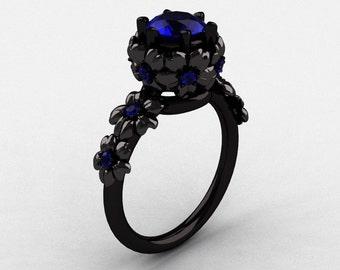 14K Black Gold Blue Sapphire Flower Wedding Ring, Engagement Ring NN109-14KBGBS