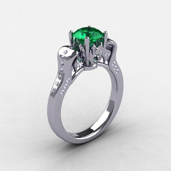 14K White Gold Emerald Diamond Wedding Ring, Engagement Ring NN101-14KWGDEM