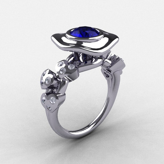 Platinum Blue Sapphire Diamond Leaf and Mushroom Wedding Ring, Engagement Ring NN103A-PLATDBS
