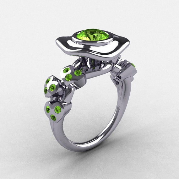 14K White Gold Peridot Leaf and Mushroom Wedding Ring, Engagement Ring NN103A-14KWGP