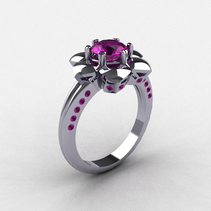 zoom - Amethyst Wedding Rings