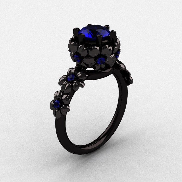 14K Black Gold Blue Sapphire Flower Wedding Ring Engagement