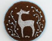 Silver Deer beaded felt brooch