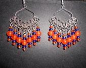 Gator orange jade and blue crystal chandelier earrings 1 by jewelrybycody