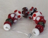 Lampwork Beads in Purple Red, White and Black
