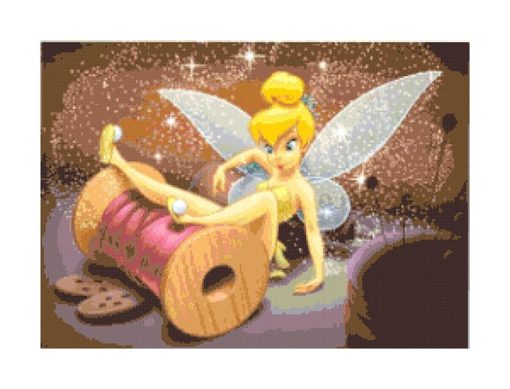 Handmade Tinkerbell in Sewing Drawer PDF Cross-Stitch Pattern