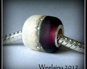 DUAL TONE Burgandy - Big Holed Bead - Lampwork Glass - Silver Lined