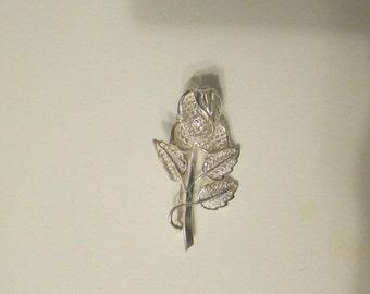 Vintage Sterling Silver Filagree Flower Brooch