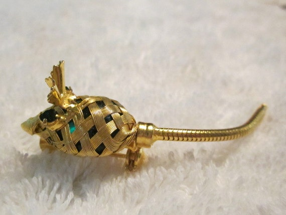 Vintage Goldtone Mouse Brooch with Green Eyes